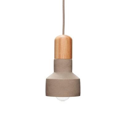 Betonnen hanglamp met hout grijs