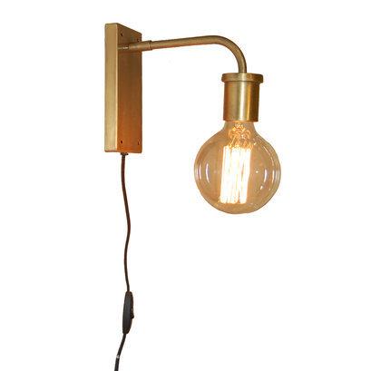 Brass kleurige wandlamp Trademark Living