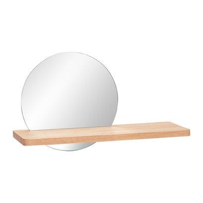 Eikenhouten plank met ronde spiegel