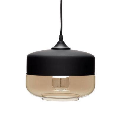 hanglamp hubsch zwart rookglas 060401