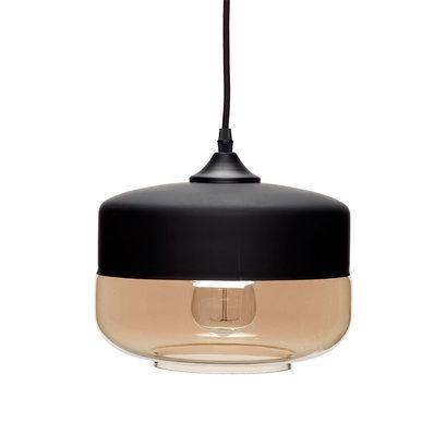 Hanglamp mat zwart met glas Hubsch