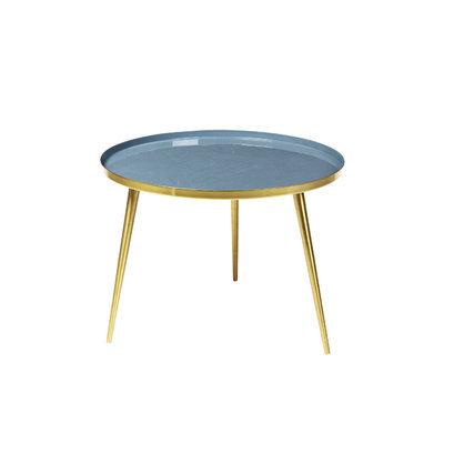 Hippe salontafel rond brass flintstone