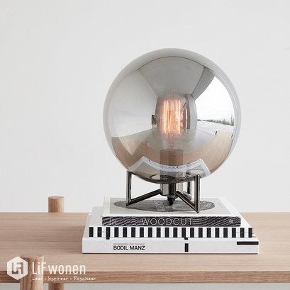 hubsch-tafellamp-zwart-metaal-rookglas-sfeer