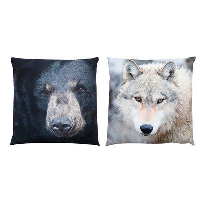 Kussenset beer en wolf