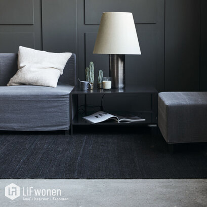 stoer interieur zwart vloerkleed Hempi