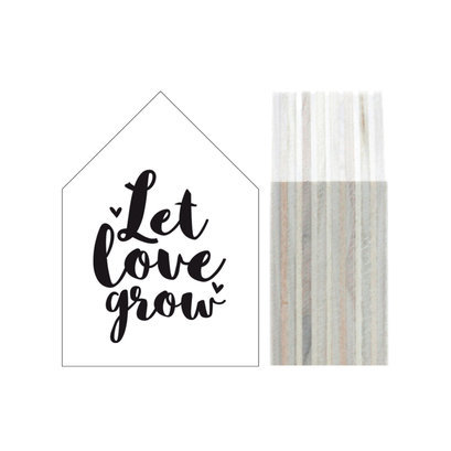 Wit houten huisje let love grow